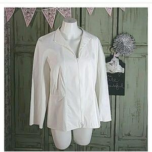 Lafayette 148 white cotton zip-up blouse